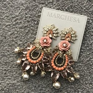 Marchese pink chandelier earrings new